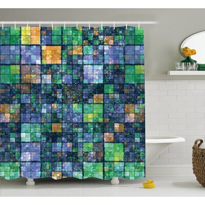 Hilda Modern Mosaic Geometric Design With Rainbow Colors Patchwork Like Design Artwork Shower Curtain Size: 69 W x 75 H