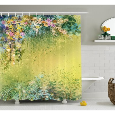 Bruce Spring Foliage With Leaves Hand Drawn Aesthetic Inspiring Picture Shower Curtain Size: 69 W x 70 H