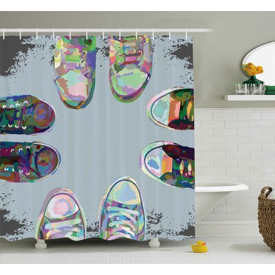 Amelia Modern Teen Rubber Rebel Rocker Shoes Shower Curtain Size: 69 W x 70 H