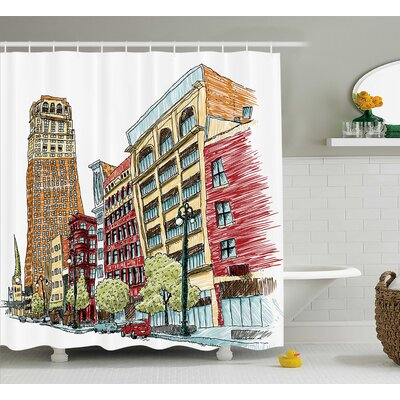 Keen Grunge Graphic of European Avenue Modern Urban Life Downtown City Streets Shower Curtain Size: 69 W x 70 H