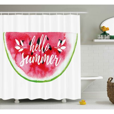 Venetia Lifestyle Watercolor Watermelon Figure With Hello Summer Motivation Quote Paint Print Shower Curtain Size: 69 W x 70 H