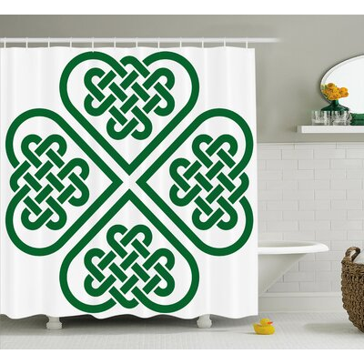 Calibos Monochrome Four Leaf Clover Flower Authentic Timeless Form Gaelic Decor Shower Curtain Size: 69 W x 75 H