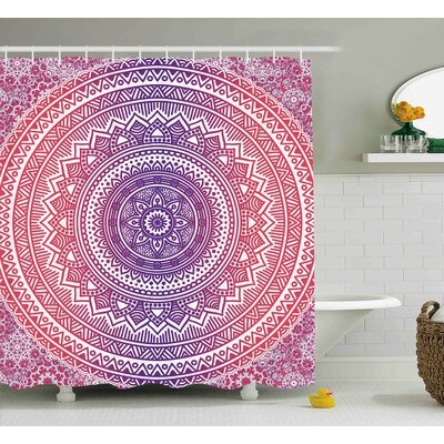 Hali Pink and Purple Vivid Ethnic Mandala Cosmos Oriental Original Transcendent Artistic Image Shower Curtain Size: 69 W x 70 H