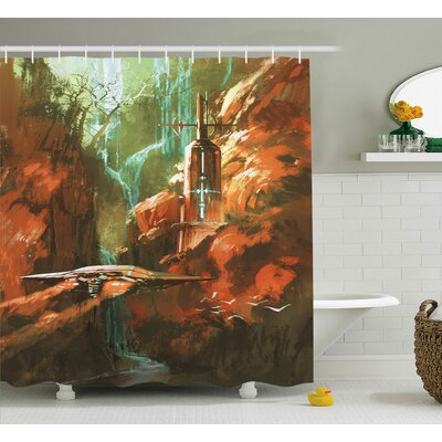Fantasy World Spaceship on Background of Waterfall Lighthouse and Red Canyon Fantasy Print Shower Curtain Size: 69 W x 75 H