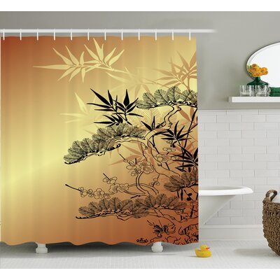 Raya Japanese Asian Branches and Bamboo Motifs With Showy Leaf Nature Illustration Art Shower Curtain Size: 69 W x 70 H