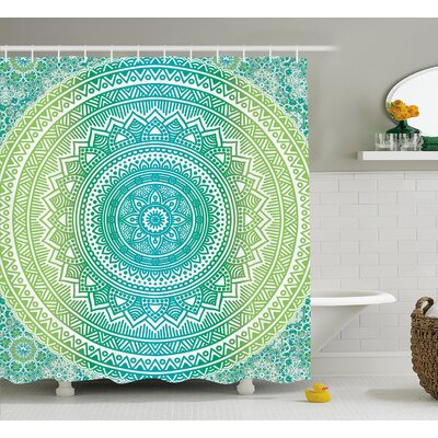 Leigh Teal and Lime Ombre Mandala Indian Pattern With Flower and Petals Hippie Style Art Shower Curtain Size: 69