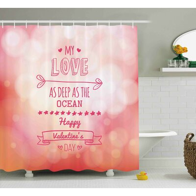 Valentines Day Pink Decor My Love Deep As The Ocean Romantic For Her With Star Hearts Arrow Shower Curtain Size: 69 W x 70 H