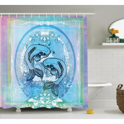 Ouitchambo Japanese Soul Mate Ethnic Exotic Fishes on Gradient Round and Framed Sea Illustration Shower Curtain Size: 69 W x 70 H