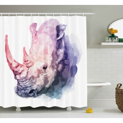 Lillie Watercolor Gradient Paintbrush Style Tropical Animal Rhino Safari Artful Paint Print Shower Curtain Size: 69 W x 70 H