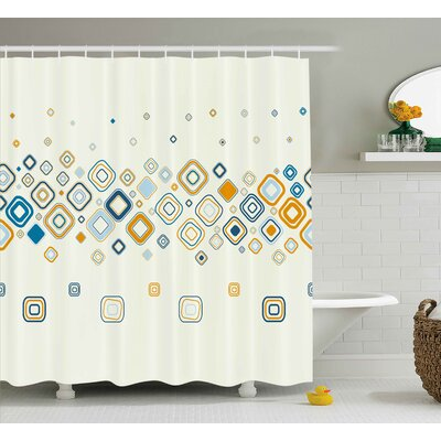 Addie Modern Vector Illustration of Stylish Repeating Geometric Shapes Pattern Shower Curtain Size: 69 W x 70 H