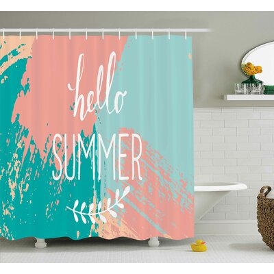 Matthew Quote Hello Summer Lettering Image With Splash Colored Like Background Artwork Print Shower Curtain Size: 69