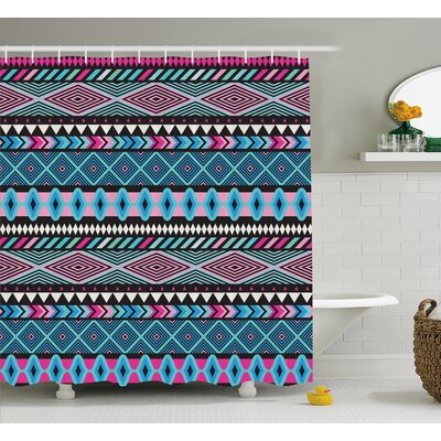 Kelli Tribal Vector Vintage Ethnic With Boho Stripes and Shape Image Print Shower Curtain Size: 69 W x 70 H