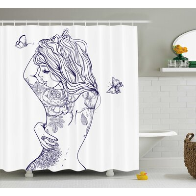 Annie Young Girl With Tattoos and Butterflies Free Soul Long Hair Feminine Image Shower Curtain Size: 69 W x 75 H