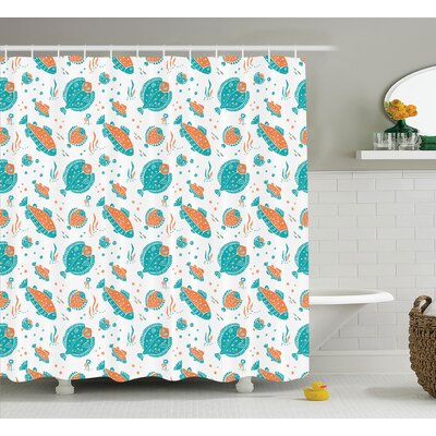 Lourdes Flounder and Trout Naive Lino Style Algae Underwater Sea Print Shower Curtain Size: 69 W x 75 H