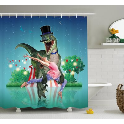 Arline Modern Scary Dinasor In Circus Holding Dancinr With a Ballerina With Stars and Moon Shower Curtain Size: 69 W x 70 H