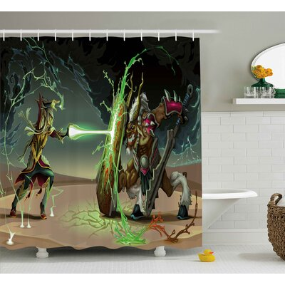 Anime Animal Comics Superheros With Dangerous Wild Powers Goat With Rays Lights Print Shower Curtain Size: 69 W x 70 H