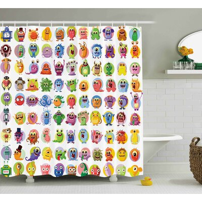 Janis Animation Cute Little Graphic Baby Mosters Great For Kids Nursery Room Colored Cartoons Art Shower Curtain Size: 69 W x 70 H