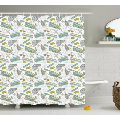 Deena Steam Engine Choo Choo Train Kids Boy Pattern Blue Green Number Plate Vintage Print Shower Curtain Size: 69 W x 75 H
