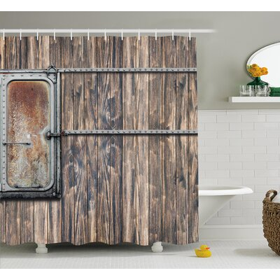 Marion Rustic Wooden Tree Planks With Old Little Rusty Metal Boat Marine Door Print Shower Curtain Size: 69 W x 70 H