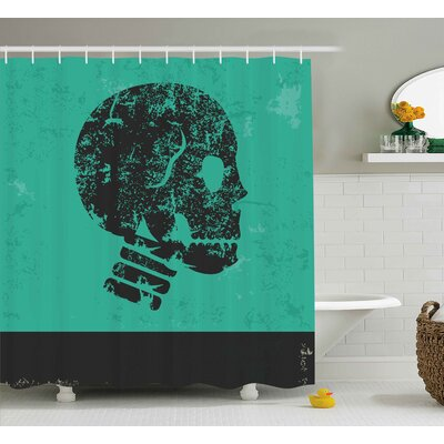 Skull Human Skeleton Theme Abstract Art Skull Design Illustration Print Shower Curtain Size: 69 W x 84 H