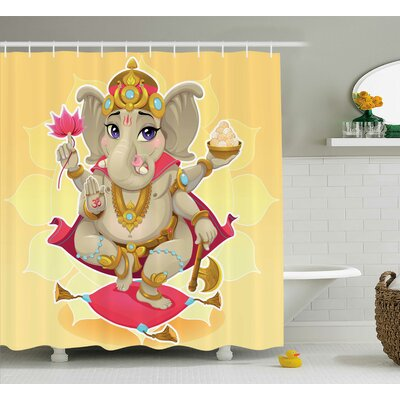 Browning Indian Elephant Cartoon Style Kids Decorations With Asian Sun Yoga Lotus Flower Design Shower Curtain Size: 69 W x 75 H