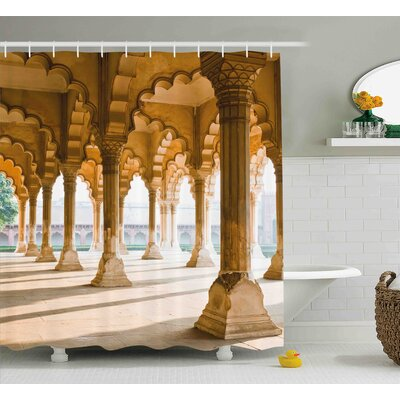 Doris Historical Theme Gallery of Pillars At Agra Fort India Digital Image Shower Curtain Size: 69 W x 75 H