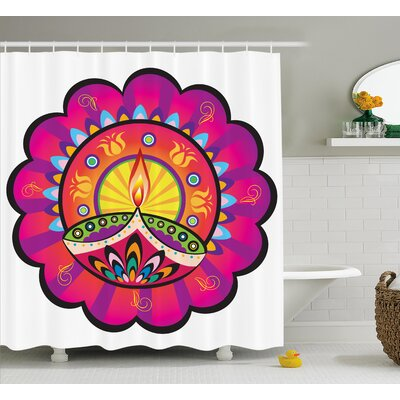 Ewing Floral Paisley Design With Oriental Details and Indian Diwali Candles Print Shower Curtain Size: 69 W x 70 H