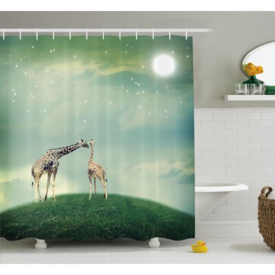 Kayla Giraffe Mother and Child Animal on Meadow Fairytale Atmosphere Shining Stars Romance Moon Image Shower Curtain Size: 69 W x 70 H