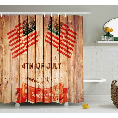 4th of July American Flag Waving In The Wind Shower Curtain Size: 69 W x 84 H