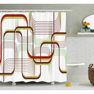 Karp Modern Geometric Contemporary Wavy Lines With Abstract Shapes Designs Art Image Shower Curtain Size: 69 W x 70 H