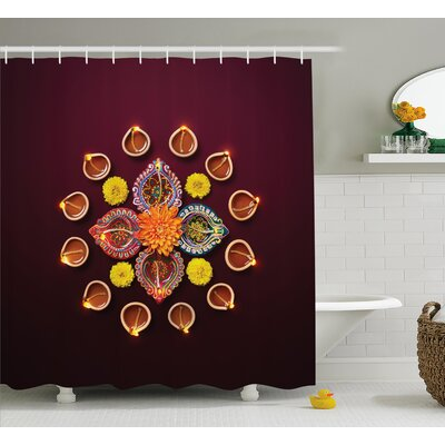 Velez Diwali Festive Celebration Indian Religious Sacred Day Flowers and Burning Candles Print Shower Curtain Size: 69 W x 70 H