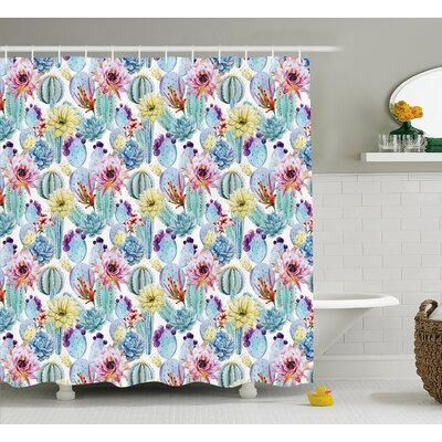 Sydney Cactus Botanic Detailed Pattern With Desert Sand Flowers Shower Curtain Size: 69 W x 70 H