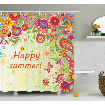 Sandi Bud Flowers Leaves Paisley Indian Motifs With Hello Summer Quote Image Shower Curtain Size: 69 W x 70 H