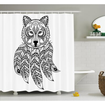 Verna Tribal Native Americal Ethnic Wolf Head With Feathers Ans Paisley Details Print Shower Curtain Size: 69 W x 70 H