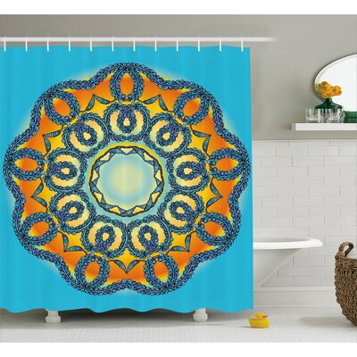 Patricia Oriental Traditional Mandala Icon With Interlace Swirled Zen Deity Theme Shower Curtain Size: 69 W x 70 H