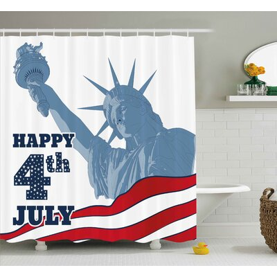 4th of July Abstract Usa Flag With Digital Paintbrush Effects Shower Curtain Size: 69 W x 70 H