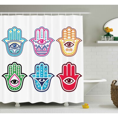 Emmaus Hamsa Colorful Sacred Third Eye Symbol Shower Curtain Size: 69 W x 70 H