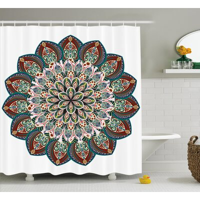 Nishiki Mandala Authentic Circular Asian Universe Figure With Victorian Lines and Ornaments Image Shower Curtain Size: 69 W x 70 H