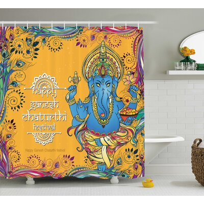 Morse Indian Asian Deity Elephant Goddess Theme Festive Design Ceremony Zen Floral Boho Art Shower Curtain Size: 69 W x 75 H