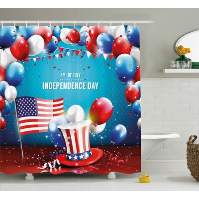 4th of July Grunge American Flag Background With Stars and Stripes Country Design Shower Curtain Size: 69