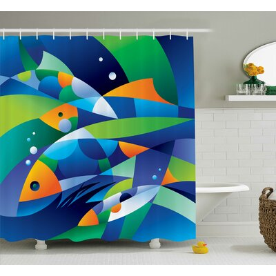 Keeney Abstract Digital Geometric Pieced Fish With Circle Curves Depths of Ocean Decor Shower Curtain Size: 69 W x 70 H
