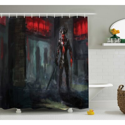 Fantasy World Fictional Reverent Character Fire Temple Dark Gothic Demonic Devil Print Shower Curtain Size: 69 W x 70 H