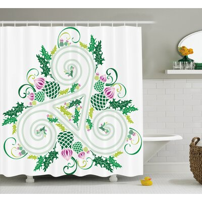 Gabriel Three Legged Macro Single Celtic Form With Curved Lines Extending Centre Print Shower Curtain Size: 69 W x 70 H