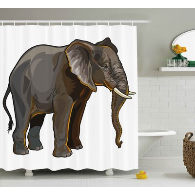 Guennoun Animal African Elephant Side View Exotic Spiritual Safari Creature Digital Illustration Shower Curtain Size: 69 W x 70 H