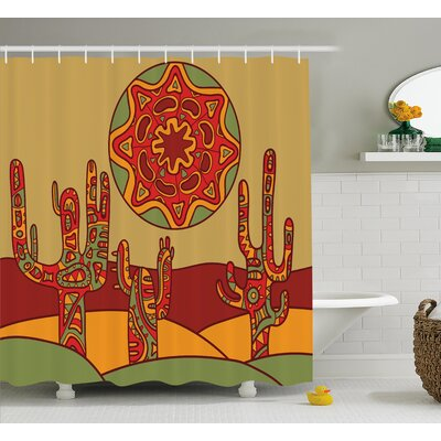 Tucker Cactus Print Cartoon Like Cactus Design With Oriental Indian Tribal Effects Art Image Shower Curtain Size: 69 W x 70 H