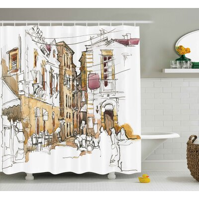 Wilkins Watercolor Sketch of Street With Old Buildings Town Artisan Paintbrush Artwork Shower Curtain Size: 69 W x 70 H