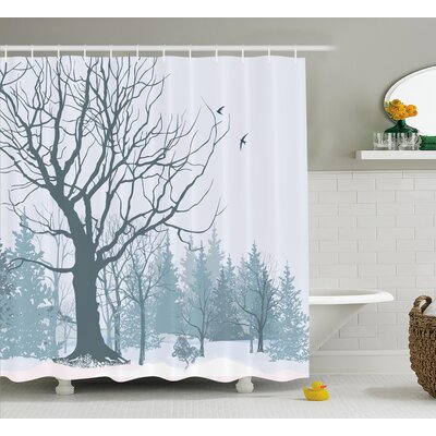 Burwinda Winter Theme a Tree Without Leaves Shower Curtain Size: 69 W x 75 H