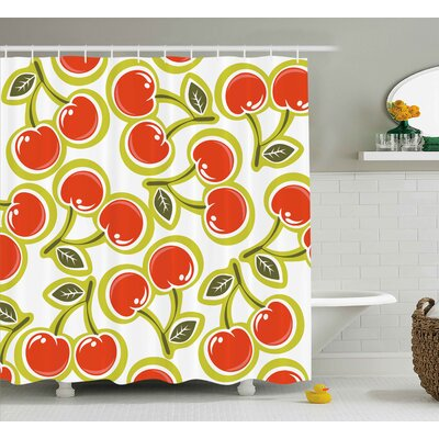 Karlin Fruit Sweet Yummy Ornate Cherry and Leaves Pattern Fresh Food Fun Art Picture Shower Curtain Size: 69 W x 70 H