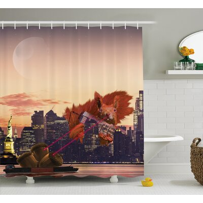 Beth Animal Big Squirrel Cartoon Shower Curtain Size: 69 W x 70 H