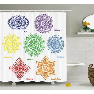 Siona Chakra Collection of Symbols Shower Curtain Size: 69 W x 84 H